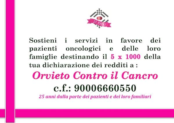 """5xMille della Dichiarazione dei Redditi per sostenere """"Orvieto Contro il Cancro"""""""