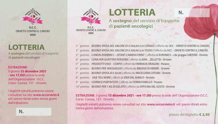 Lotteria a sostegno del servizio di trasporto dei pazienti oncologici al Centro Radioterapico di Terni